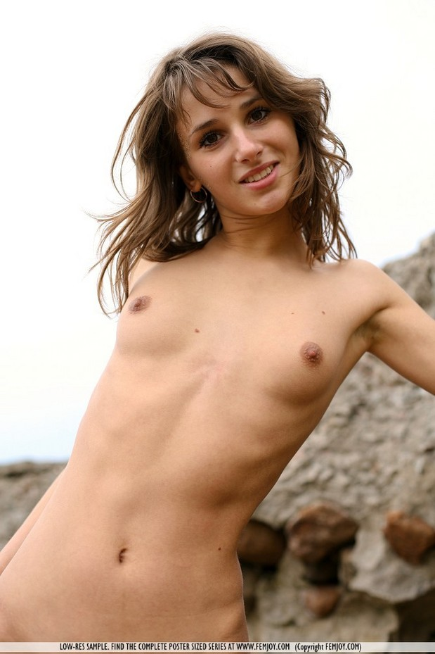Sweet Teen Babe Shows Her Tiny Tits At The Beach