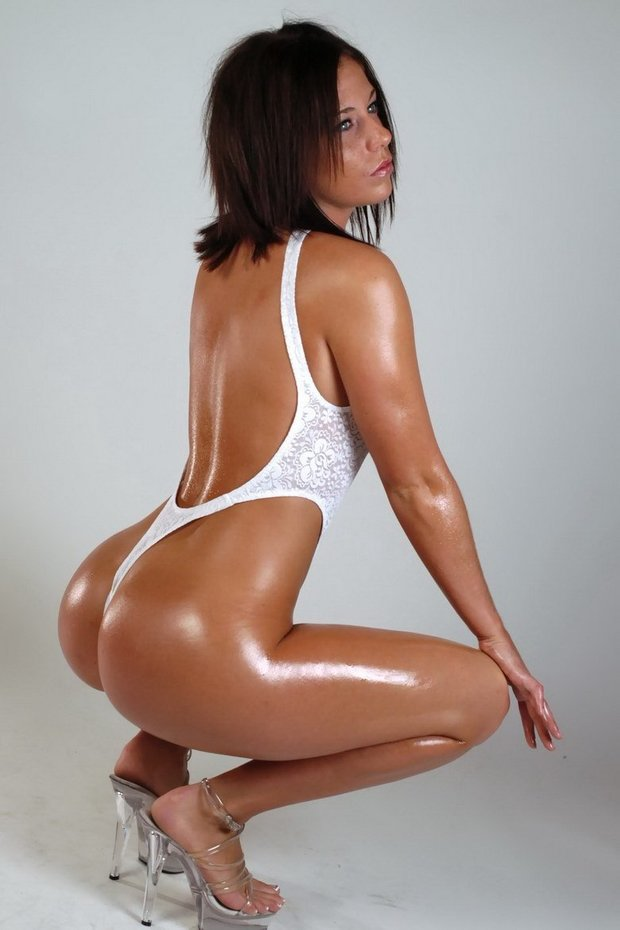 Rachael - USDA Prime ass In White Thong; Ass Babe Brunette Non Nude