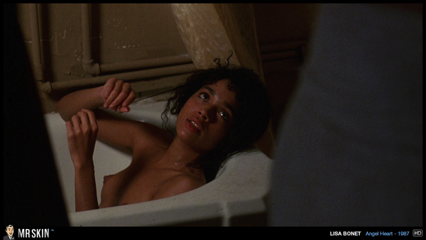 Lisa Bonet bare chested in the bath; Celebrity