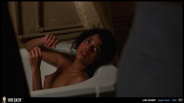 Lisa Bonet bare chested in the bath; Celebrity
