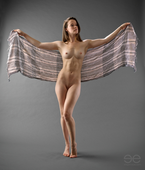 """500px / Photo """"Nude figure with arms out, holding cloth"""" by A. K. Nicholas; Brunette Erotic Shaved Athletic"""