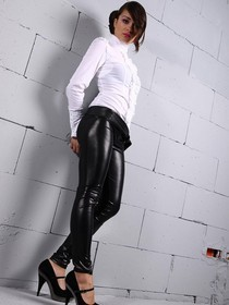 ...; Black Boots Brunette Latex Leather Leggings Non Nude Shiny
